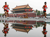 Athletes run as they pass the Tiananmen square during the Good Luck Beijing 2008  Marathon Competition. Olympic Venues<br /> Olimpiadi Pechino 2008. Impianto Giochi Olimpici<br /> Foto Cspa/Insidefoto