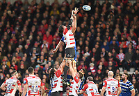 4th January 2020; Kingsholm Stadium, Gloucester, Gloucestershire, England; English Premiership Rugby, Gloucester versus Bath; Josh McNally of Bath and Franco Mostert of Gloucester compete in the air for the lineout ball - Editorial Use