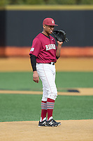 Harvard Crimson shortstop Drew Reid (5) on defense against the Wake Forest Demon Deacons at David F. Couch Ballpark on March 5, 2016 in Winston-Salem, North Carolina.  The Crimson defeated the Demon Deacons 6-3.  (Brian Westerholt/Four Seam Images)