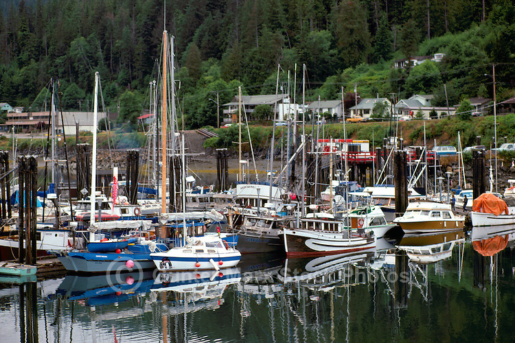 Queen Charlotte Islands (Haida Gwaii), Northern BC, British Columbia, Canada - Commercial Fishing Boats and Pleasure Boast docked at Marina, Queen Charlotte City, Graham Island