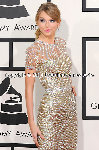 Pictured: Taylor Swift<br /> Mandatory Credit &copy; Adhemar Sburlati/Broadimage<br /> The Grammy Awards  2014 - Arrivals<br /> <br /> 1/26/14, Los Angeles, California, United States of America<br /> <br /> Broadimage Newswire<br /> Los Angeles 1+  (310) 301-1027<br /> New York      1+  (646) 827-9134<br /> sales@broadimage.com<br /> http://www.broadimage.com