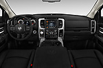 Stock photo of straight dashboard view of 2017 Ram 1500 Night Crew 4 Door Pick Up