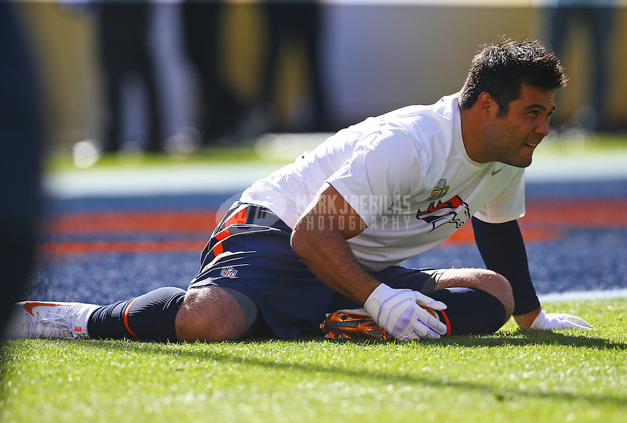 Feb 7, 2016; Santa Clara, CA, USA; Denver Broncos safety Shiloh Keo (33) stretches prior to the game against the Carolina Panthers in Super Bowl 50 at Levi's Stadium. Mandatory Credit: Mark J. Rebilas-USA TODAY Sports