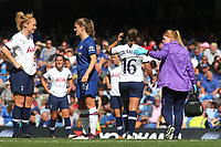 Kit Graham of Tottenham Hotspur Women leaves the field momentarily after a clash of heads during Chelsea Women vs Tottenham Hotspur Women, Barclays FA Women's Super League Football at Stamford Bridge on 8th September 2019