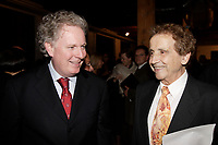 Oct 2006 File -<br /> Jean Charest , Quebec Premier (L)<br /> Jesus Carles de Vilallonga, painter (R).<br /> <br /> Internationally  know artist J C de Vilallonga donated recent painting for a benefit sales for tyhose with menyal disabilities, held at Parisian laundry in <br /> Montreal, canada.<br /> <br /> Charest was elected for the first time  April 14 2003, he is seeking a 3rd term in the  Quebec provincial election which will be held Dec 14, 2008.<br /> <br /> photo : (c) 2005 Images Distribution