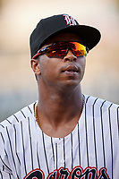 Birmingham Barons left fielder Eloy Jimenez (21) before a game against the Pensacola Blue Wahoos on May 8, 2018 at Regions FIeld in Birmingham, Alabama.  Birmingham defeated Pensacola 5-2.  (Mike Janes/Four Seam Images)