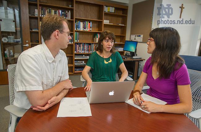 July 8, 2014; David Nickerson with graduate students Nara Pav&atilde;o and Sandra Botero.<br />  <br /> (Photo by Barbara Johnston/University of Notre Dame