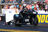 Mar 18, 2017; Gainesville , FL, USA; NHRA pro stock motorcycle rider Joey Gladstone during qualifying for the Gatornationals at Gainesville Raceway. Mandatory Credit: Mark J. Rebilas-USA TODAY Sports