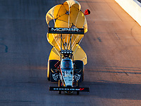 Feb 24, 2018; Chandler, AZ, USA; NHRA top fuel driver Leah Pritchett during qualifying for the Arizona Nationals at Wild Horse Pass Motorsports Park. Mandatory Credit: Mark J. Rebilas-USA TODAY Sports