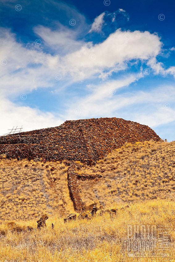 The massive stone structure known as Pu'ukohola Heiau, or the temple on the whale hill, is the largest and last heiau constructed in 1790-91 by Kamehameha I; Pu'ukohola Heiau National Historic Site, Kawaihae, Kohala, Big Island.