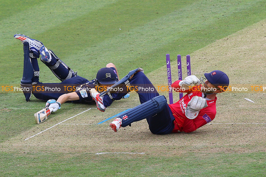 James Foster of Essex goes close to running out John Simpson during Middlesex vs Essex Eagles, Royal London One-Day Cup Cricket at Lord's Cricket Ground on 31st July 2016