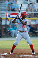 Greeneville Reds infielder Jonathan Willems (15) at bat during a game against the Burlington Royals at the Burlington Athletic Complex on July 7, 2018 in Burlington, North Carolina. Burlington defeated Greeneville 2-1. (Robert Gurganus/Four Seam Images)
