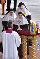 The relics of parents of St. Therese of Lisieux are displayed during a Holy Mass for the canonization of four new saints in St. Peter's Square in Vatican. -- Pope Francis celebrates a Holy Mass for the canonization of four new saints: Vincenzo Grossi, Mary of the Immaculate Conception, Louis Martin and his wife Zélie Guérin, the first-ever married couple with children to be canonized in the same ceremony..Vatican City, Vatican. 18th October 2015