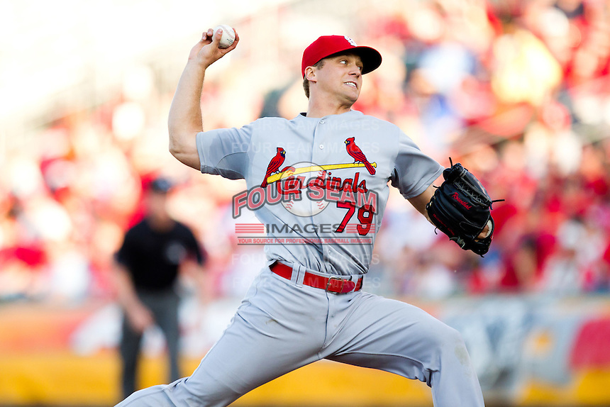 Trevor Rosenthal (79) of the St. Louis Cardinals delivers a pitch during a game against the Springfield Cardinals at Hammons Field on April 2, 2012 in Springfield, Missouri. (David Welker/Four Seam Images)