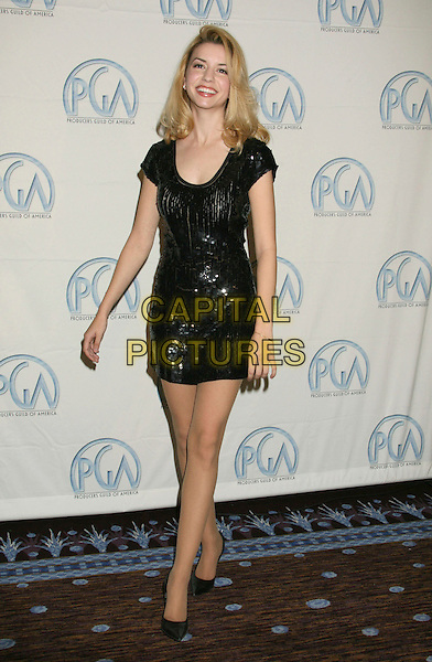 MASIELA LUSHA.19th Annual Producers Guild Awards Arrivals held at the Beverly Hilton Hotel, Beverly Hills, California, USA..February 2nd, 2008.press room pressroom full length black sequins sequined dress .CAP/ADM/RE.©Russ Elliot/AdMedia/Capital Pictures.