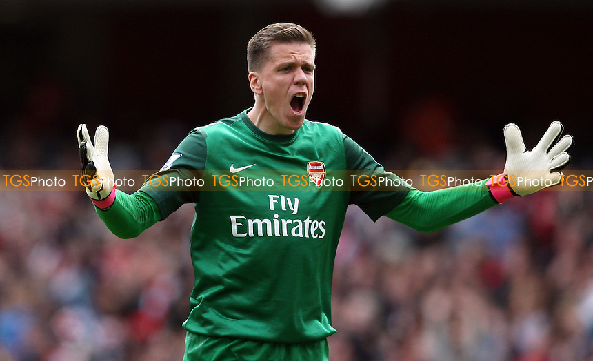 Wojciech Szczesny celebrates Arsenal's goal - Arsenal vs Manchester United, Barclays Premier League at the Emirates, Arsenal - 28/04/13 - MANDATORY CREDIT: Rob Newell/TGSPHOTO - Self billing applies where appropriate - 0845 094 6026 - contact@tgsphoto.co.uk - NO UNPAID USE.