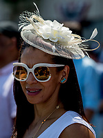ELMONT, NY - JUNE 09: A woman in a stylish hat on Belmont Stakes Day at Belmont Park on June 9, 2018 in Elmont, New York. (Photo by Kazushi Ishida/Eclipse Sportswire/Getty Images)