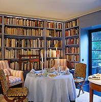 A table laid for lunch in one of several library/dining rooms around the house