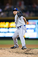 Durham Bulls relief pitcher Chih-Wei Hu (19) in action against the Charlotte Knights at BB&T BallPark on May 15, 2017 in Charlotte, North Carolina. The Knights defeated the Bulls 6-4.  (Brian Westerholt/Four Seam Images)