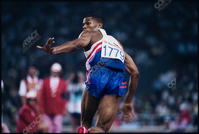 4x400m relay finals, men. Quincy Watts (USA) gold. Summer Olympics, Barcelona, Spain, August 1992