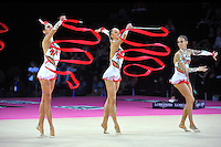 September 24, 2011; Montpellier, France;  (L-R)  ELISA SANTONI, ANDREEA STEFANESCU and ROMINA LAURITO of Italian group perform with 3-ribbons + 2-hoops on way to winning gold in the groups all around final at 2011 World Championships.