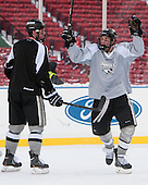 Mark Jankowski (PC - 10) -  - The participating teams in Hockey East's first doubleheader during Frozen Fenway practiced on January 3, 2014 at Fenway Park in Boston, Massachusetts.