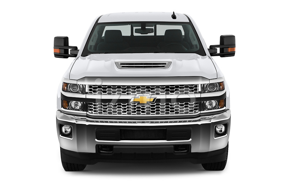 Car photography straight front view of a 2019 Chevrolet Silverado 2500 LT Crew Cab 4 Door Pick Up