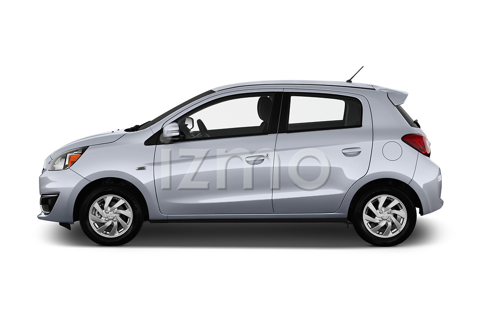 Car Driver side profile view of a 2018 Mitsubishi Mirage SE 5 Door Hatchback Side View