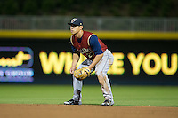 Scranton/Wilkes-Barre RailRiders second baseman Rob Refsnyder (27) on defense against the Durham Bulls at Durham Bulls Athletic Park on May 15, 2015 in Durham, North Carolina.  The RailRiders defeated the Bulls 8-4 in 11 innings.  (Brian Westerholt/Four Seam Images)