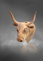 Minoan  bull's head rhython libation vessel, Gournia 1600-1450 BC; Heraklion Archaeological  Museum, grey background