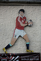 FAO STEWART HUNTER, DAILY MAIL SPORTS PICTURE DESK<br />Pictured: A picture of Shane Williams on the wall outside Amman United RFC clubhouse in Cwmamman, Wales, UK. Thursday 13 April 2017<br />Re: Former Wales international rugby player Shane Williams is to make another comeback as part of the Amman United team that contests a final at the Principality Stadium in Cardiff on Saturday.<br />40 year old Williams, Wales' record try scorer has been named in his local village side that will take on Caerphilly in the National Bowl final, having recovered from a fractured jaw in the semi-final win against Cardigan after almost five years since Williams last played for the Barbarians against Wales.<br />He retired from the Test scene after a defeat to Australia in 2011, immediately after Wales had reached the semi-final of the World Cup of that year.