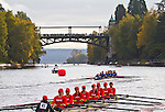 Rowing, Head of the Lake Regatta, November 2 2014, Seattle, Seattle University crew, Women's 3JV 8+, Washington State, Lake Washington Rowing Club, Lake Washington Ship Canal, Montlake Cut,