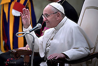 Pope Francis during weekly general audience  in the Paul VI Hall at the Vatican   28, December.2016.