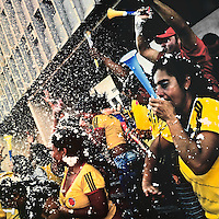 Colombia football fans celebrate a goal while watching the match between Colombia and Uruguay at the FIFA World Cup 2014, in a park in Cali, Colombia, 28 June 2014.