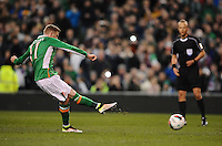 29/03/2016;International Friendly - Republic of Ireland vs Slovakia, Aviva Stadium, Dublin<br /> Ireland&rsquo;s James McClean scores from a penalty<br /> Photo Credit: actionshots.ie/Tommy Grealy