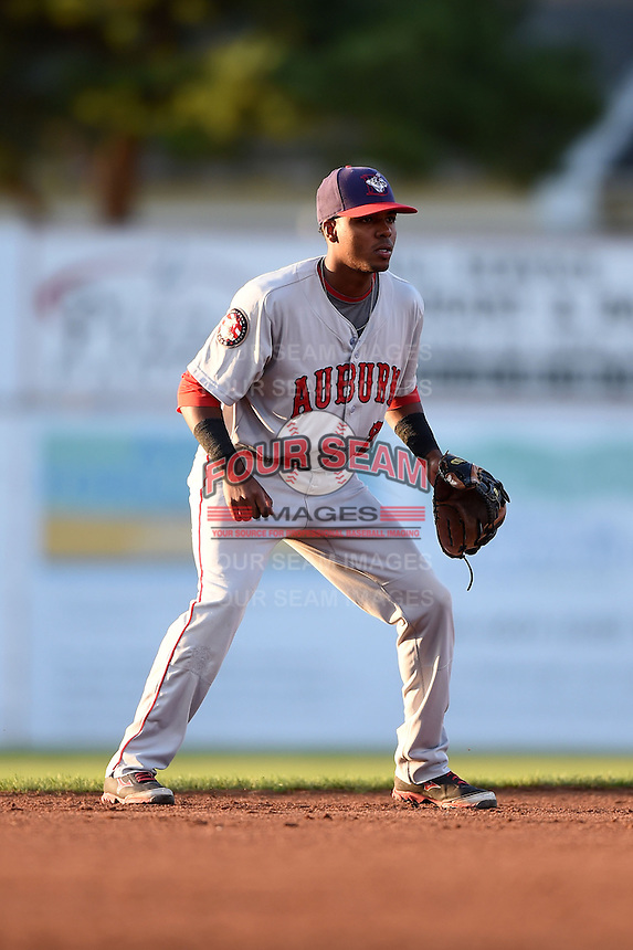 Auburn Doubledays shortstop Osvaldo Abreu (7) during a game against the Batavia Muckdogs on August 27, 2014 at Dwyer Stadium in Batavia, New York.  Auburn defeated Batavia 6-4.  (Mike Janes/Four Seam Images)