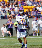 Justin Reh (#11) attacks as UAlbany Lacrosse defeats Vermont 14-4  in the American East Conference Championship game at Casey Stadium, May 5.