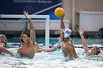 BERKELEY, CA - DECEMBER 04:  Nick Bell (2) of the University of Southern California defends Johnny Hooper (17) of the University of California at Berkeley during the Division I Men's Water Polo Championship held at the Spieker Aquatics Complex on December 04, 2016 in Berkeley, California.  Cal defeated USC 11-8 for the national title. (Photo by Justin Tafoya/NCAA Photos via Getty Images)