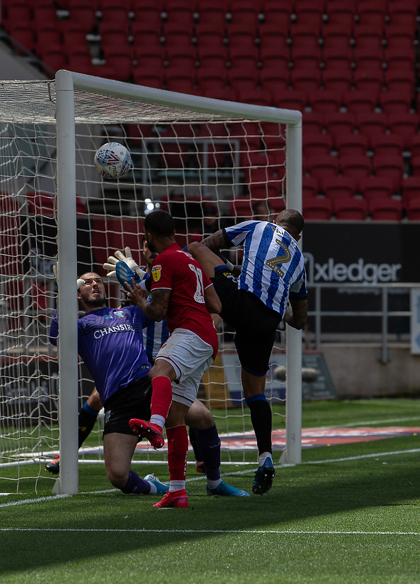 Bristol City's Nakhi Wells scores his side's first goal  <br /> <br /> Photographer David Horton/CameraSport<br /> <br /> The EFL Sky Bet Championship - Bristol City v Sheffield Wednesday - Sunday 28th June 2020 - Ashton Gate Stadium - Bristol <br /> <br /> World Copyright © 2020 CameraSport. All rights reserved. 43 Linden Ave. Countesthorpe. Leicester. England. LE8 5PG - Tel: +44 (0) 116 277 4147 - admin@camerasport.com - www.camerasport.com