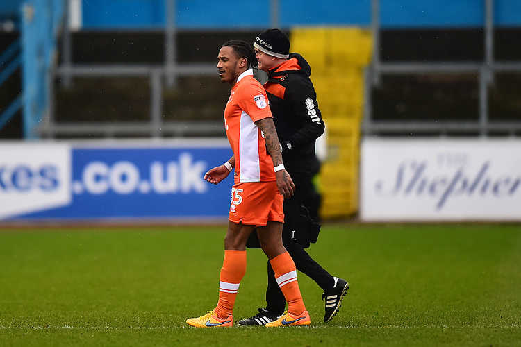 Blackpool's Neil Danns goes off with an injury<br /> <br /> Photographer Richard Martin-Roberts/CameraSport<br /> <br /> The EFL Sky Bet League Two - Carlisle United v Blackpool - Saturday 11th February 2017 - Brunton Park - Carlisle<br /> <br /> World Copyright &copy; 2017 CameraSport. All rights reserved. 43 Linden Ave. Countesthorpe. Leicester. England. LE8 5PG - Tel: +44 (0) 116 277 4147 - admin@camerasport.com - www.camerasport.com