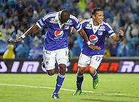 BOGOTA -COLOMBIA- 25-08-2013. Wason Rentería  de Millonarios  celebra su gol  contra el Deportivo Pasto    ,  partido correspondiente a la  sexta fecha de la Liga Postobón segundo semestre disputado en el estadio Nemesio Camacho El Campin     / Millionaires Wason Rentería celebrates his goal against Deportivo Pasto, game in the sixth round of the second half Postobón League match at the Estadio Nemesio Camacho El Campin . Photo: VizzorImage /Felipe Caicedo  / STAFF