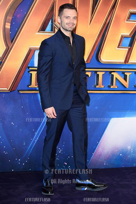 Sebastian Stan arriving for the &quot;Avengers: Infinity War&quot; fan event at the London Television Studios, London, UK. <br /> 08 April  2018<br /> Picture: Steve Vas/Featureflash/SilverHub 0208 004 5359 sales@silverhubmedia.com