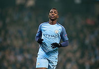 Kelechi Iheanacho of Manchester City turns to celebrate his goal during the UEFA Champions League GROUP match between Manchester City and Celtic at the Etihad Stadium, Manchester, England on 6 December 2016. Photo by Andy Rowland.