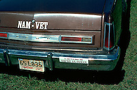 Native American (AIM) Bumper sticker at  Pow Wow (Ft. Snelling).  St Paul Minnesota USA