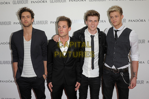Lawson.Women Of The Year 2012 - Glamour Awards, Berkeley Square, London, England..29th May 2012.half length black white grey gray waistcoat jacket shirt suit band group Andy Brown, Adam Pitts, Joel Peat, Ryan Fletcher.CAP/PL.©Phil Loftus/Capital Pictures.