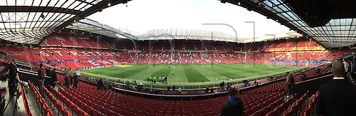 30.09.2015. Manchester, England.  The Old Trafford stadium in Manchester, Great Britain,as fans arrive for the VfL Wolfsburg faces Manchester United in a UEFA Champions League group stage match on 30 September 2015.