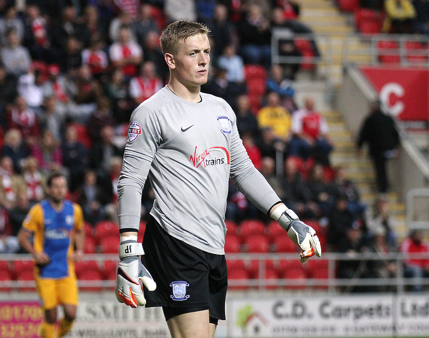 Preston North End's Jordan Pickford<br /> <br /> Photographer Rich Linley/CameraSport<br /> <br /> Football - The Football League Sky Bet Championship - Rotherham United v Preston North End - Tuesday 18th August 2015 - New York Stadium - Rotherham<br /> <br /> &copy; CameraSport - 43 Linden Ave. Countesthorpe. Leicester. England. LE8 5PG - Tel: +44 (0) 116 277 4147 - admin@camerasport.com - www.camerasport.com