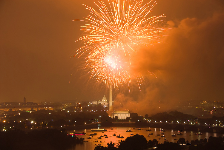 Washington DC; USA: July 4 Fireworks and icons, as seen from Arlington, VA, venue, Top of the Town.Photo copyright Lee Foster Photo # 16-washdc82886
