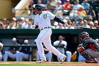 Detroit Tigers third baseman Miguel Cabrera #24 during a Spring Training game against the Atlanta Braves at Joker Marchant Stadium on February 27, 2013 in Lakeland, Florida.  Atlanta defeated Detroit 5-3.  (Mike Janes/Four Seam Images)