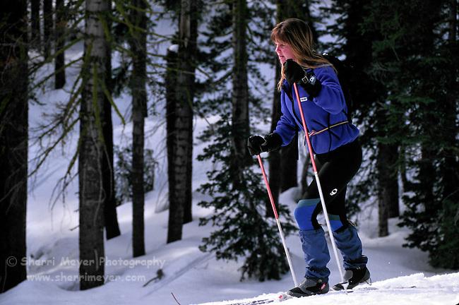 Cross country skiier at Castle Peak